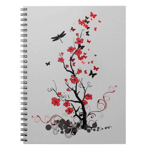Red and Black.. Spiral Note Books