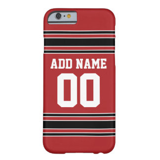 Red and Black Sports Jersey Custom Name Number Barely There iPhone 6 Case