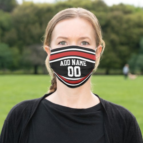 Red and Black Sports Jersey Custom Name Number Cloth Face Mask