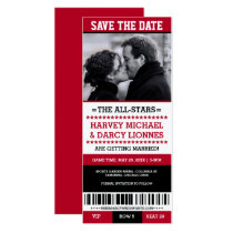 Red and Black Sports Ticket Save the Date Invitation