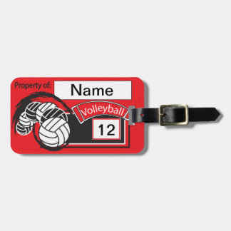 Red and Black Sporty Volleyball Bag Tag