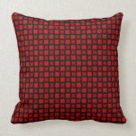 Red and Black Squares Throw Pillow