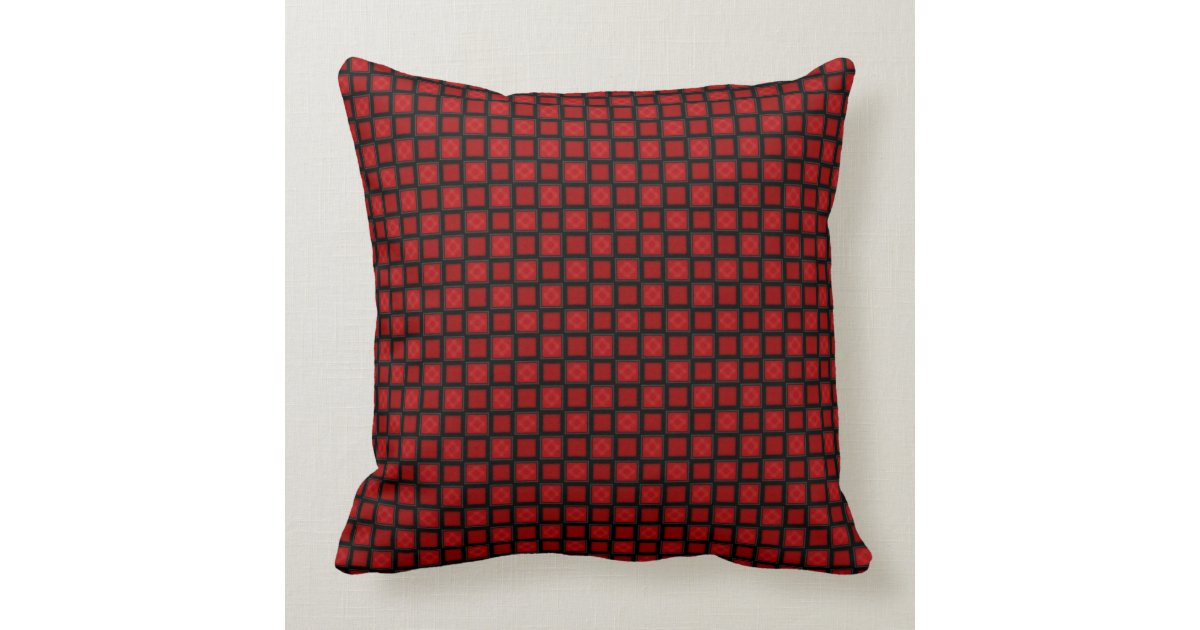 red and black squares throw pillow. Black Bedroom Furniture Sets. Home Design Ideas