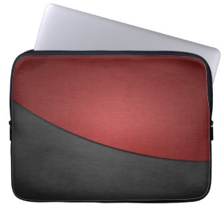 Red and Black Stainless Steel Metal Laptop Sleeve