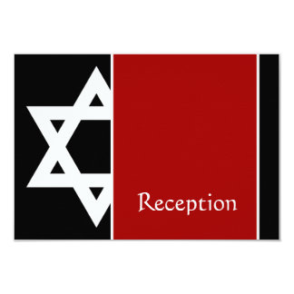 Red and Black Star of David Bar Mitzvah Reception Card