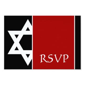 Red and Black Star of David Bar Mitzvah RSVP 3.5x5 Paper Invitation Card