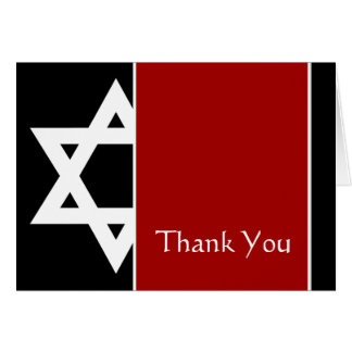 Red and Black Star of David Bar Mitzvah Thank You Card