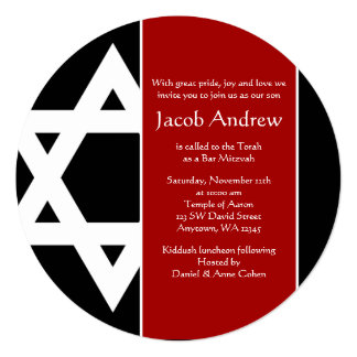 Red and Black Star of David Round Bar Mitzvah Card