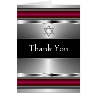 Red and Black Star of David Thank You Card