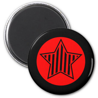 Red and Black Star Round Magnet
