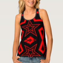 Red and black star tank top