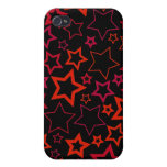 Red and Black Stars Cover For iPhone 4