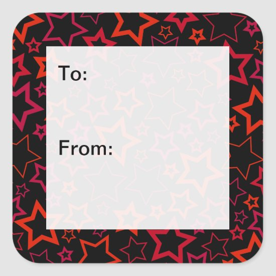Red and Black Stars Gift Tags