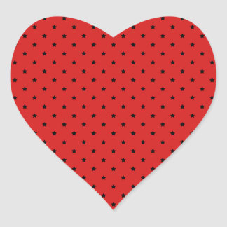 Red and Black Stars Pattern. Heart Sticker