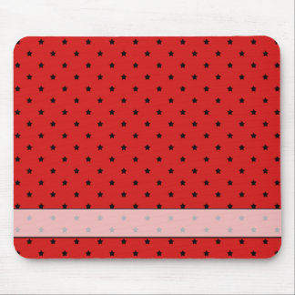 Red and Black Stars Pattern. Mouse Pad
