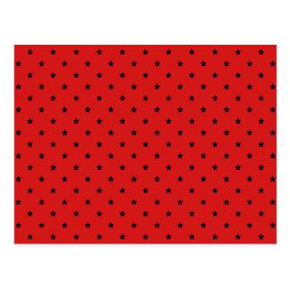 Red and Black Stars Pattern. Postcard