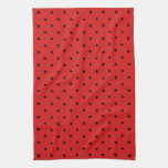 Red and Black Stars Pattern. Towels