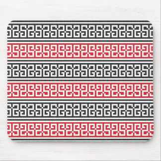 Red and Black Stitch Pattern Mouse Pad