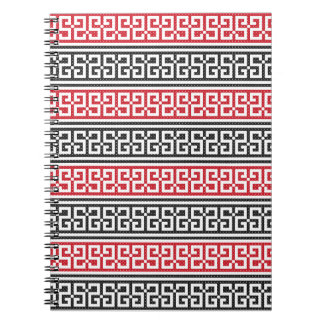 Red and Black Stitch Pattern Spiral Notebook