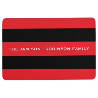 Red and Black Stripe Custom Floor Mat with NAME