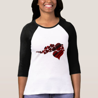 Red and Black Stripe Hearts T-Shirt