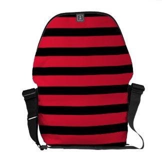 Red and Black Stripe Messenger Bag