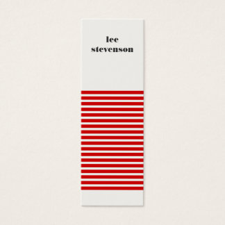 Red and Black Striped Mini Business Card