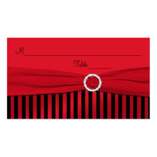 Red and Black Striped Placecards Business Card