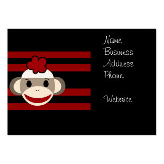 Red and Black Striped Sock Monkey Girl Flower Hat Large Business Cards (Pack Of 100)