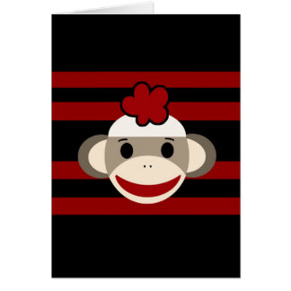 Red and Black Striped Sock Monkey Girl Flower Hat Card