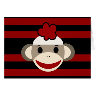 Red and Black Striped Sock Monkey Girl Flower Hat Cards
