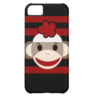 Red and Black Striped Sock Monkey Girl Flower Hat iPhone 5C Cases