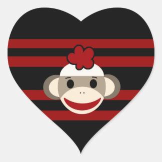 Red and Black Striped Sock Monkey Girl Flower Hat Heart Sticker