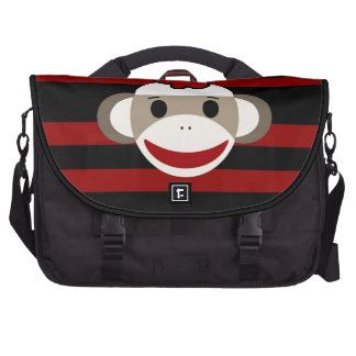 Red and Black Striped Sock Monkey Girl Flower Hat Laptop Bag