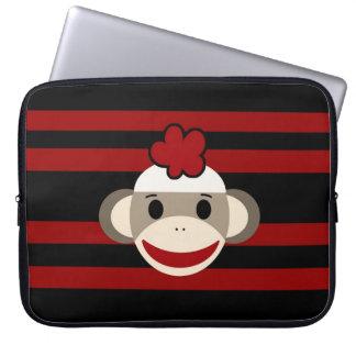 Red and Black Striped Sock Monkey Girl Flower Hat Laptop Sleeve