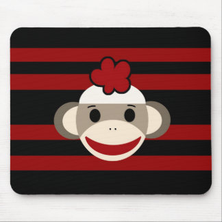 Red and Black Striped Sock Monkey Girl Flower Hat Mouse Pad