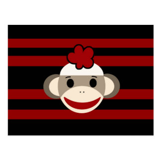 Red and Black Striped Sock Monkey Girl Flower Hat Post Cards
