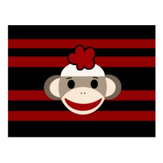 Red and Black Striped Sock Monkey Girl Flower Hat Postcard