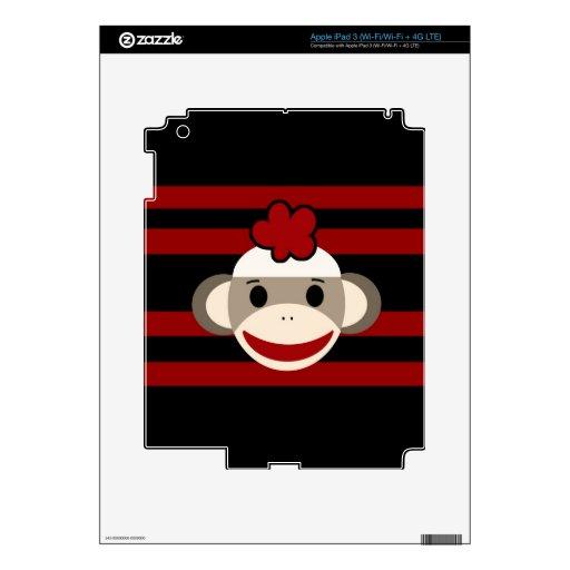 Red and Black Striped Sock Monkey Girl Flower Hat iPad 3 Skins
