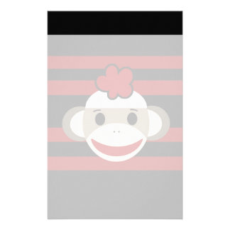 Red and Black Striped Sock Monkey Girl Flower Hat Stationery