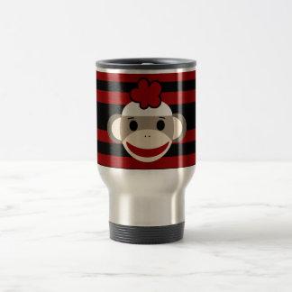 Red and Black Striped Sock Monkey Girl Flower Hat Travel Mug