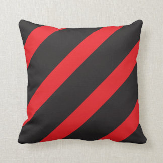 Red and Black Striped Throw Pillow