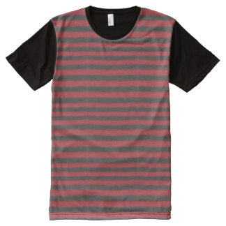 Red and Black Stripes All-Over Print T-shirt