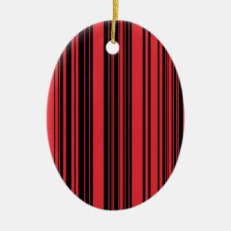 Red And Black Stripes Ceramic Ornament