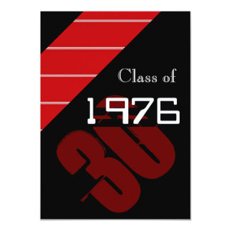 Red and black stripes Class reunion party Card