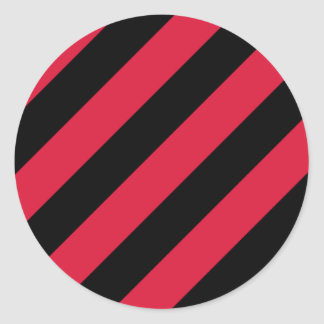 Red and Black Stripes Classic Round Sticker