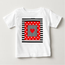 Red and black stripes, polka dots pattern baby T-Shirt