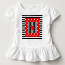 Red and black stripes, polka dots pattern toddler t-shirt