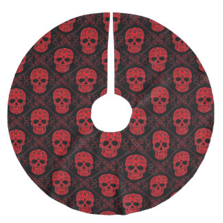 Red and Black Sugar Skull Pattern Brushed Polyester Tree Skirt