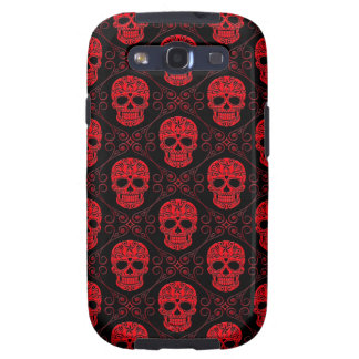 Red and Black Sugar Skull Pattern Samsung Galaxy SIII Covers
